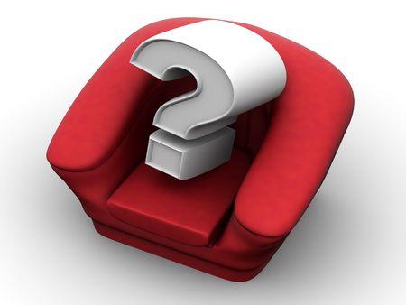 vacante: Sill�n con la pregunta. Vacante. 3d  Foto de archivo