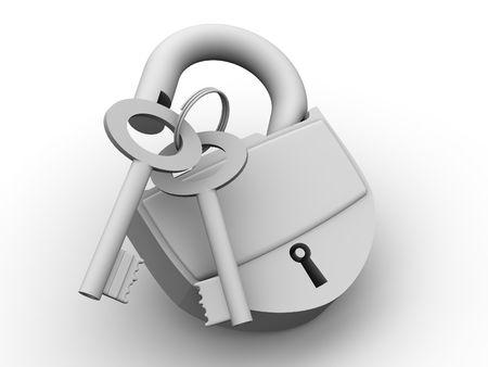 bug key: Padlock with keys. 3d Stock Photo