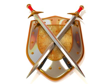 sword and shield: Shild with Sword. Security. 3d