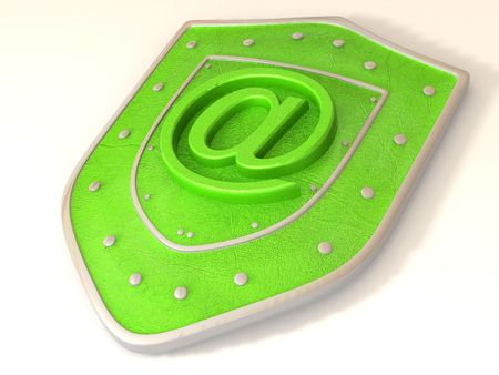 http: Shield with symbol for internet. 3d