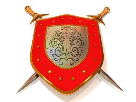 3d shield: Shild with Sword. Security. 3d
