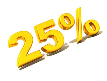 parameter: Twenty-five percent. Gold. 3d Stock Photo