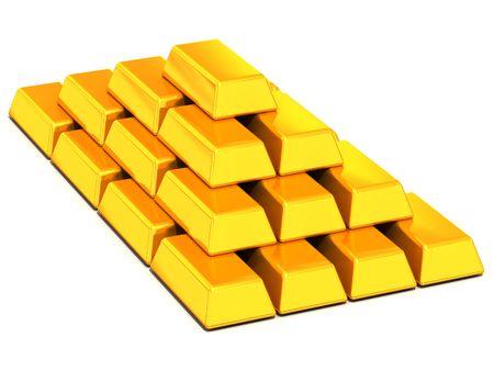 Ingots gold. 3d photo