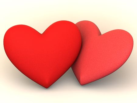Two Hearts. Love. 3d photo