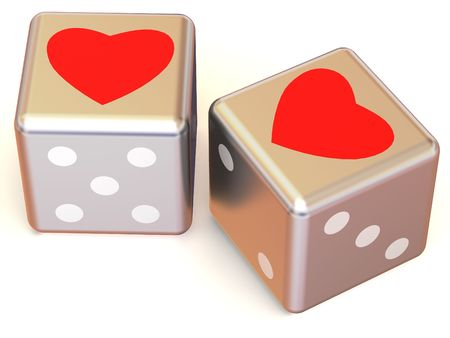 Cubes with Hearts. Love. 3d photo