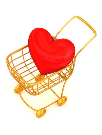 Consumer's basket with Heart. 3d Stock Photo - 2497251