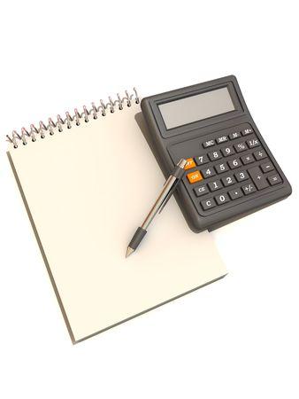 calculator, notebook and  pen. 3d photo