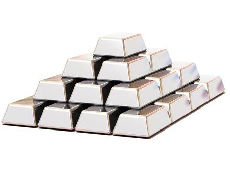 Ingots silver. 3d Stock Photo