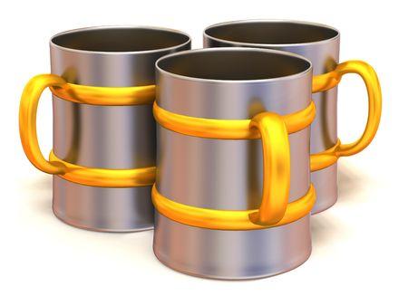 refreshment: Three cups. 3d