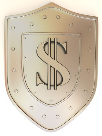 nobility symbol: Shield with dollar. 3d