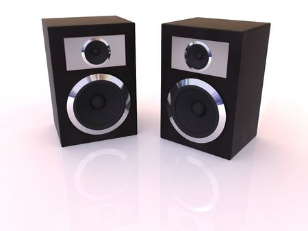Loudspeakers with equalizer. 3d photo