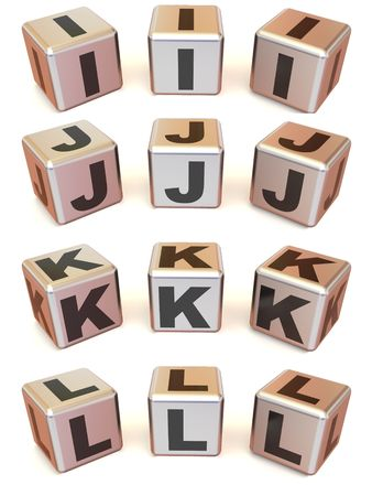 Cubes with letters. 3d photo