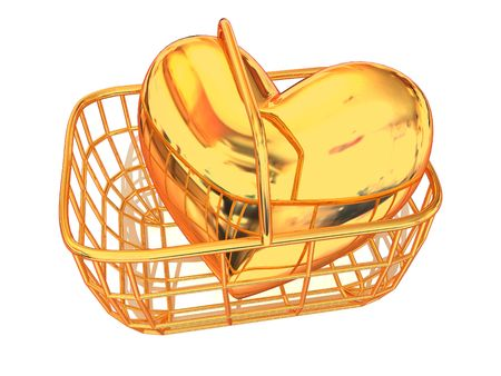 Consumer's basket with Heart. 3d Stock Photo - 2638011