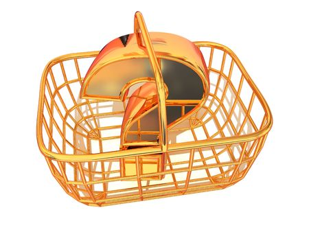 Consumers basket with question. 3d Stock Photo
