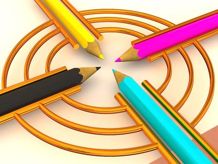 prepress: Target from pencils. CMYK. 3d