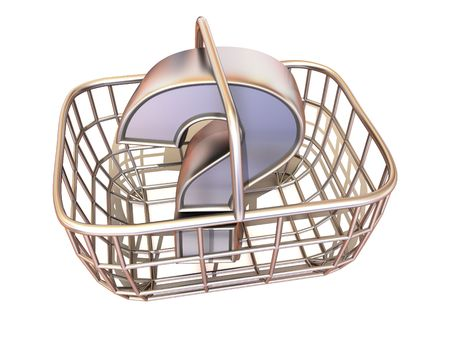 what to eat: Consumers basket with question. 3d Stock Photo