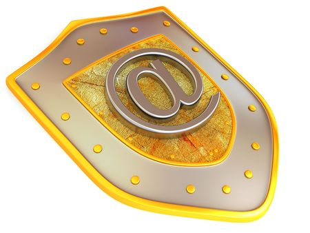 Shield with symbol for internet. 3d photo