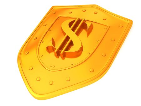 Shield with dollar. 3d photo