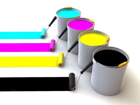 polygraphy: Rollers brush and buckets of paint. 3d