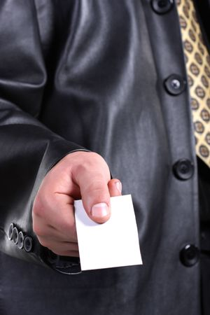 Buisnessmen with message on hand. Stock Photo - 3242988