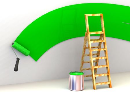 Ladder, roller brush, bucket. Space for text. 3d Stock Photo - 3269078