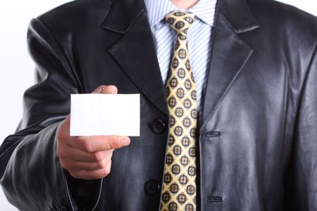 Buisnessmen with message on hand. Stock Photo - 3269077