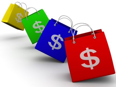 Shopping bags with dollar. 3d photo