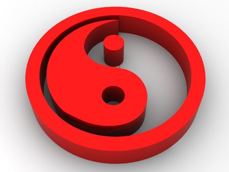 Icon Ying and Yang. 3d Stock Photo - 3292302