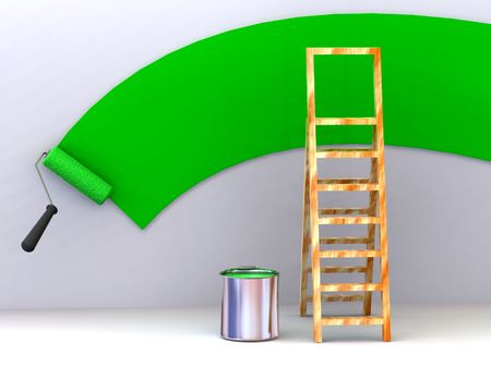 Ladder, roller brush, bucket. Space for text. 3d Stock Photo - 3292363