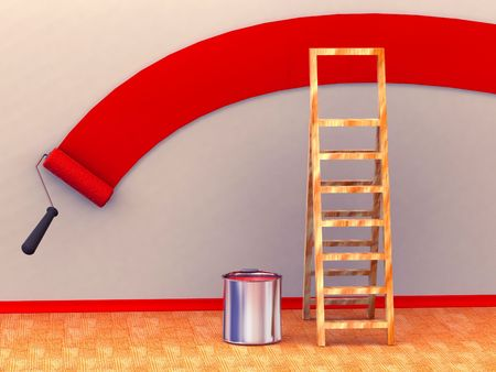 Ladder, roller brush, bucket. Space for text. 3d Stock Photo - 3292408
