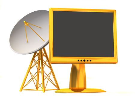 Satellite with monitor. 3d Stock Photo - 3292331