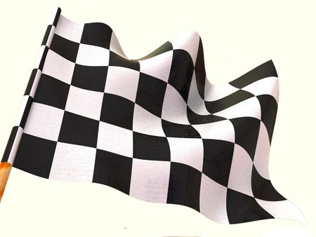 schwarz weiss kariert: Zielflagge. 3D