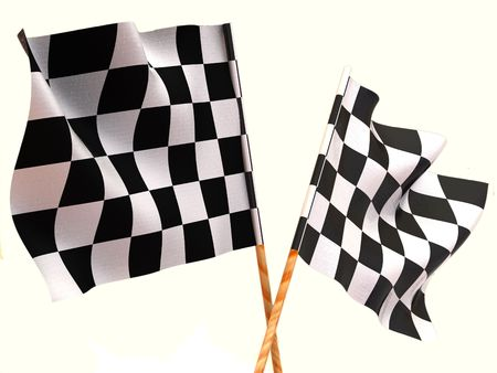 sidecar motocross racing: Checkered flags. 3d