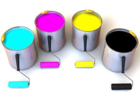 addition: Rollers brush and buckets of paint. 3d