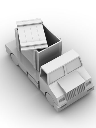 Trailer with crate. 3d photo