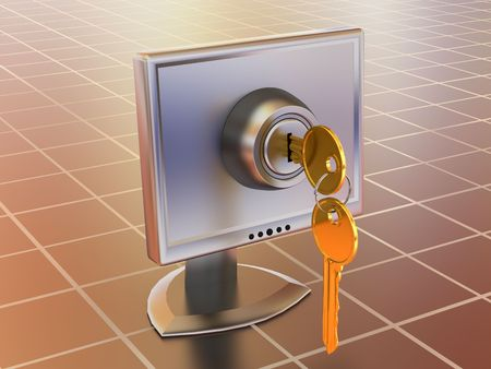 lockout: Monitors with keys. 3d