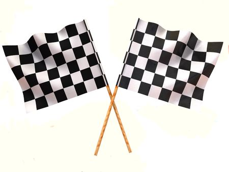 sidecar motocross racing: Checkered flags Stock Photo
