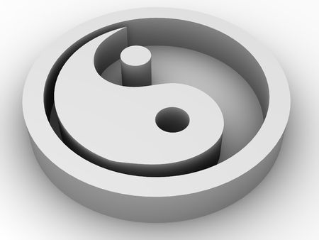 Icon Ying and Yang. 3d photo