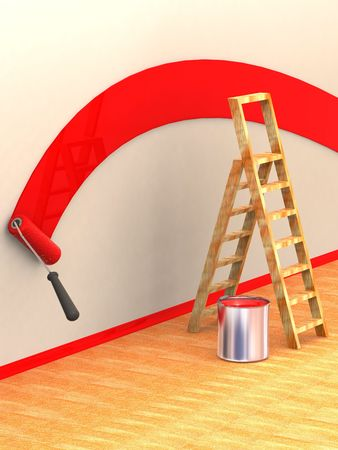 Ladder, roller brush, bucket. Space for text. 3d Stock Photo - 3345625