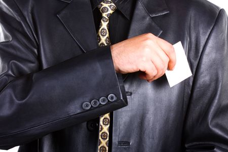 Buisnessmen with message on hand. Stock Photo - 3349630