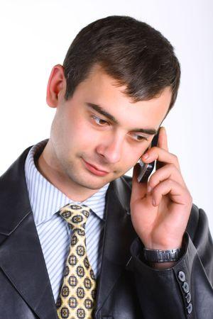 Men talking on telephone. photo