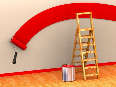 Ladder, roller brush, bucket. Space for text. 3d Stock Photo - 3444555