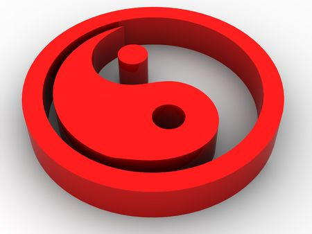 Icon Ying and Yang. 3d Stock Photo - 3444303