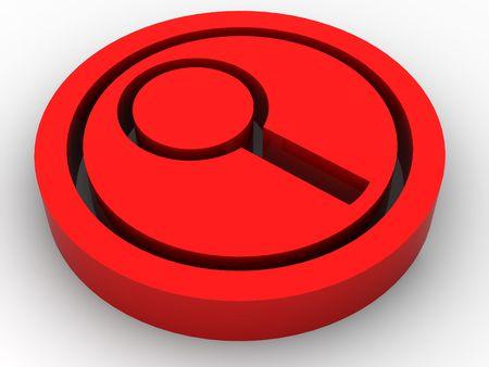 investigators: Icon Search. 3d Stock Photo