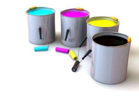 rollers: Rollers brush and buckets of paint. 3d