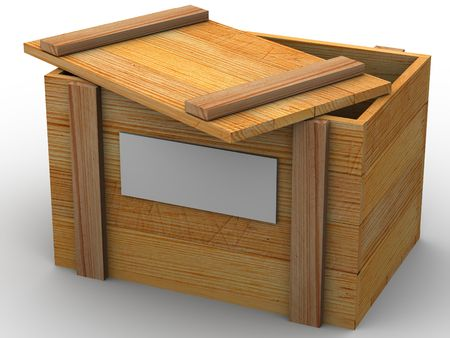 wooden lid: Crate. 3d Stock Photo