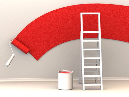 Ladder, roller brush, bucket. Space for text. 3d Stock Photo - 3511901