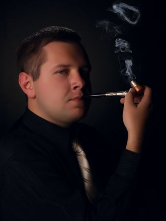 Men with tobacco-pipe photo