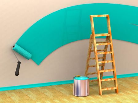 Ladder, roller brush, bucket. Space for text. 3d Stock Photo - 3581647
