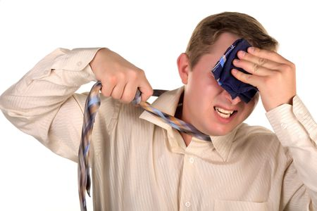 transpiration: Hommes essuyer un mouchoirs